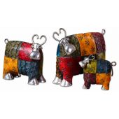 Uttermost Colorful Cows Metal Figurines  3個組
