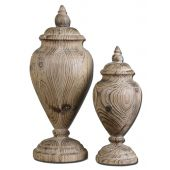 Uttermost Brisco Carved Wood Finials  2個組