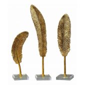 Uttermost Feathers Gold Sculpture  3個組