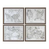 Uttermost World Maps Framed Prints  4個組