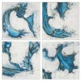 Uttermost Swirls In Blue Abstract Art  4個組