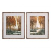 Uttermost Custom Golden Forest Landscape Prints  2個組