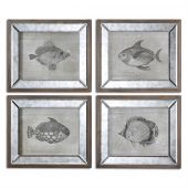 Uttermost Mirrored Fish Framed Art  4個組