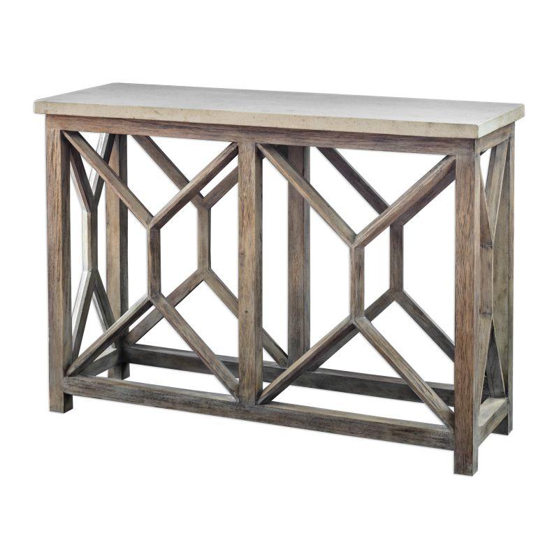 UTTERMOST コンソールテーブル Catali Ivory Stone