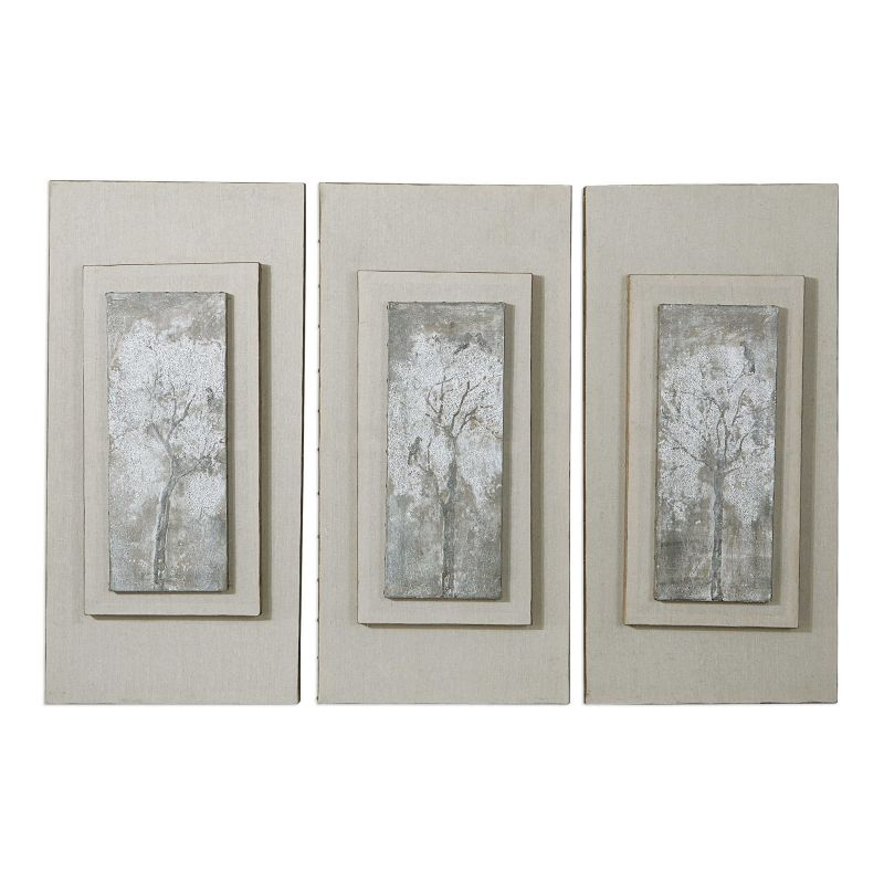 Uttermost Triptych Trees Hand Painted Art  3個組