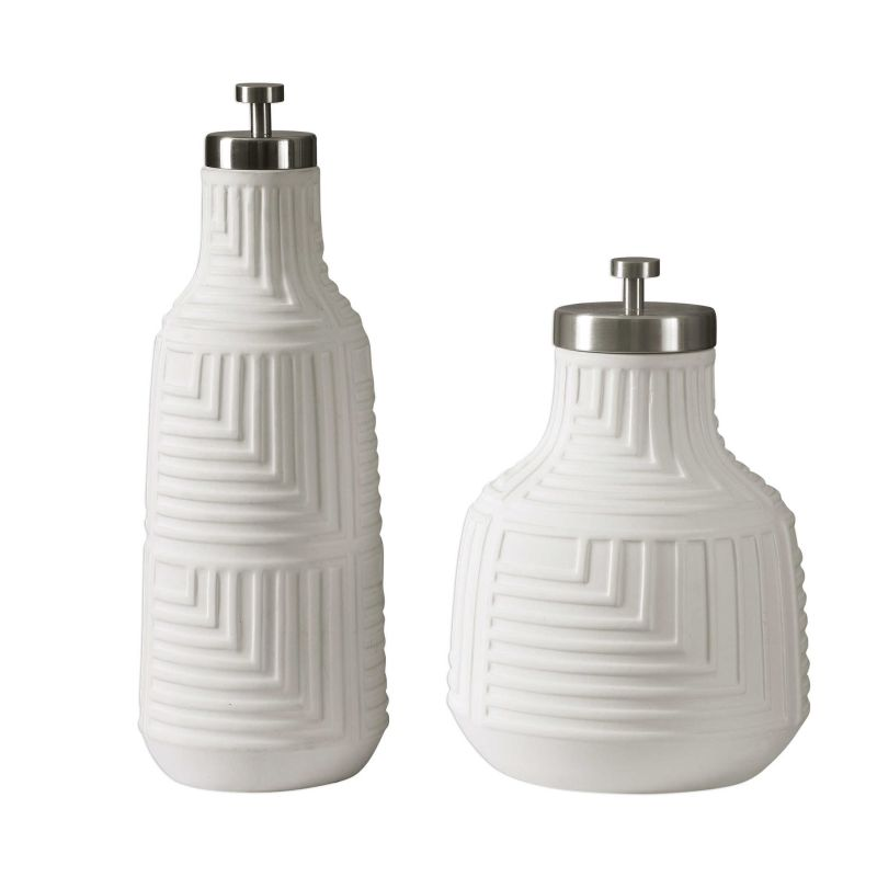 Uttermost Chandran Matte White Containers  2個組